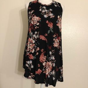 Lane Bryant Black Floral Tank Top Size 14/16
